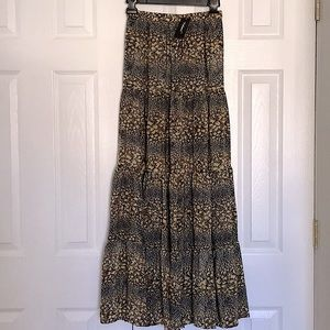 Leopard Animal Silk Print Tiered Stretch XS Skirt